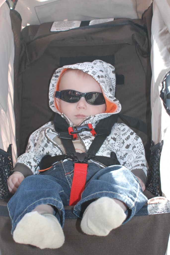Sleeping in the stroller during lunch, and looking cool doing it!