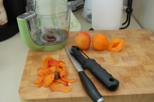 Making Baby Food.  Apricots and Blueberries.
