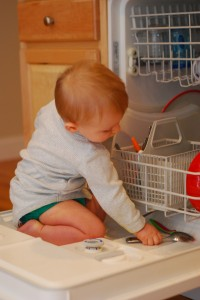 """Helping"" Mommy load the dishwasher"