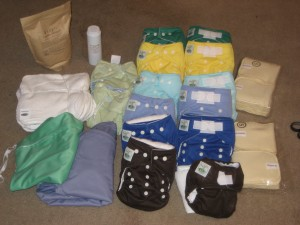 The stash sent.  Tiny Tush Elite, Incredibellas, Gro Baby doublers, Crunchy Clean detergent, Sweet Pea Wet bags