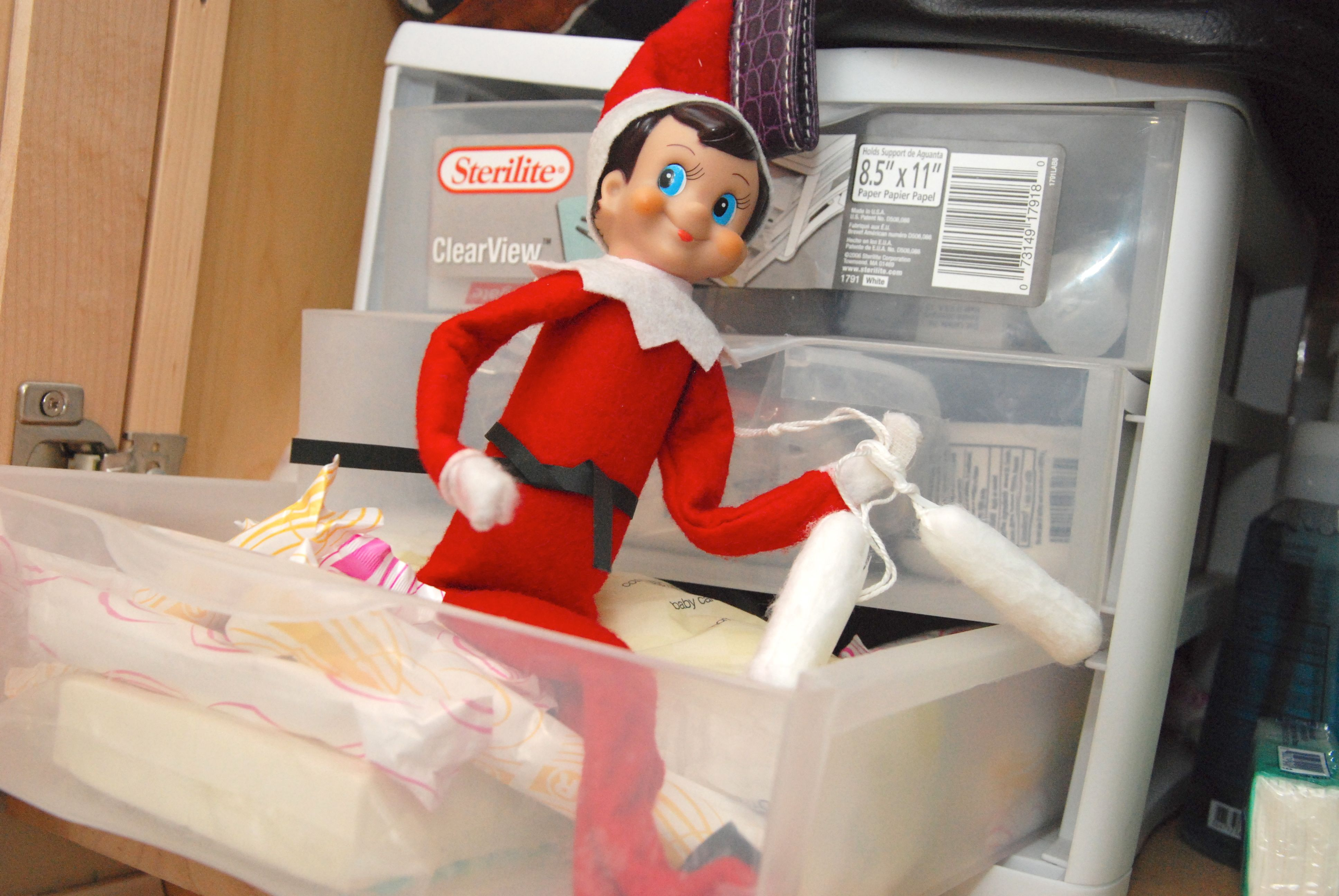 elf on the shelf ideas week 2 dirty diaper laundry