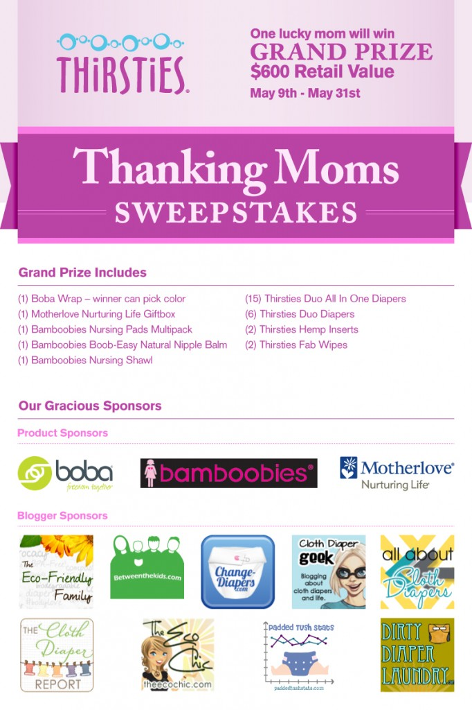 Thirsties Thanks Mom Sweepstakes- TONS of Prizes to be Won