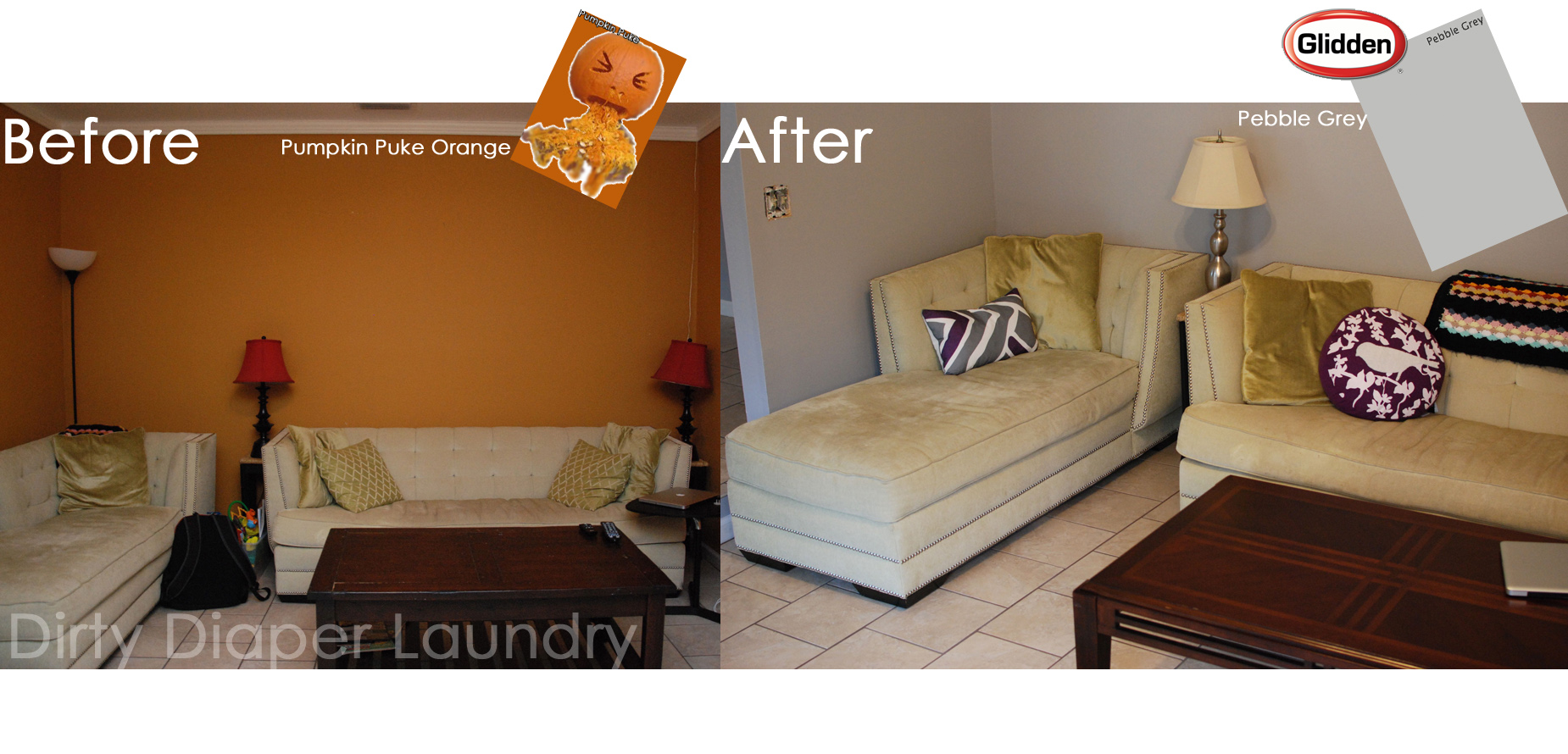 Before and After:  Pumpkin Puke Orange to Pebble Grey