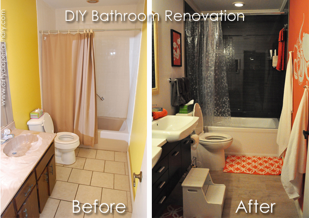 Painting dirty diaper laundry - S bathroom remodel before and after ...