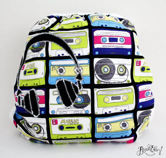 Headphone Applique on Cassettes by BrookieEllen.