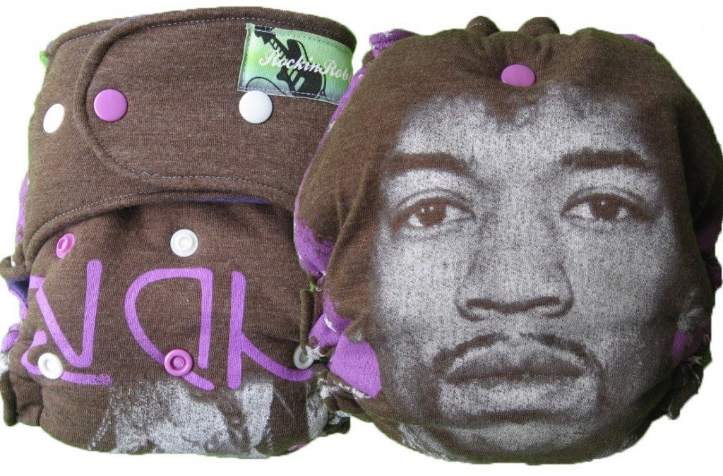 Jimi Hendrix diaper upcycled from a t-shirt from RockinRobbies. Oh how I wish I could see this modeled on a baby. I can't decide how I feel about a man's face on a baby's butt...