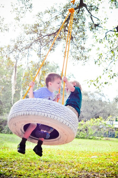 On a tire swing