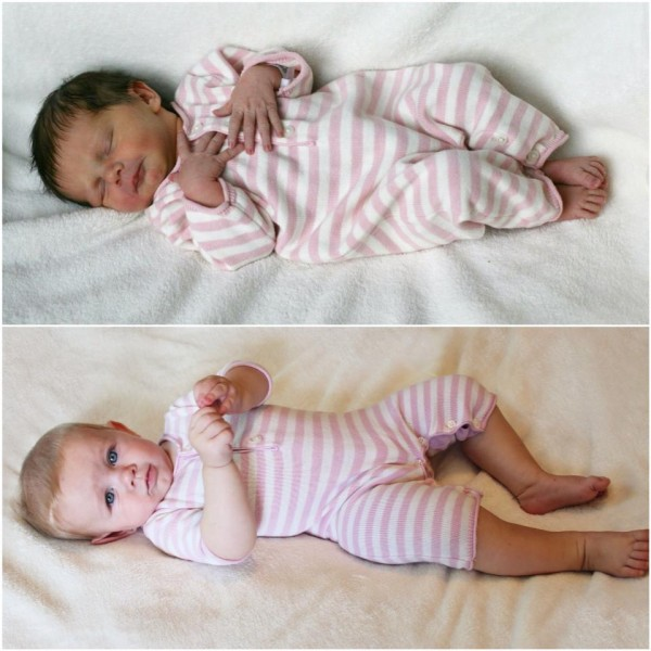 Harper at one day and 6 months.