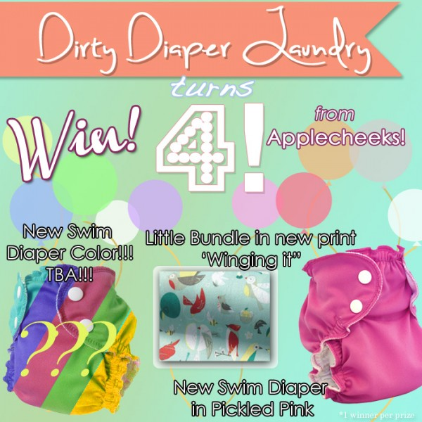 4 Years of DDL- Applecheeks Prizes!  Little Bundle in Winging it, Pickled Pink Swim Diaper, and TBA NEW Swim Diaper Color!  {ends 4/23}