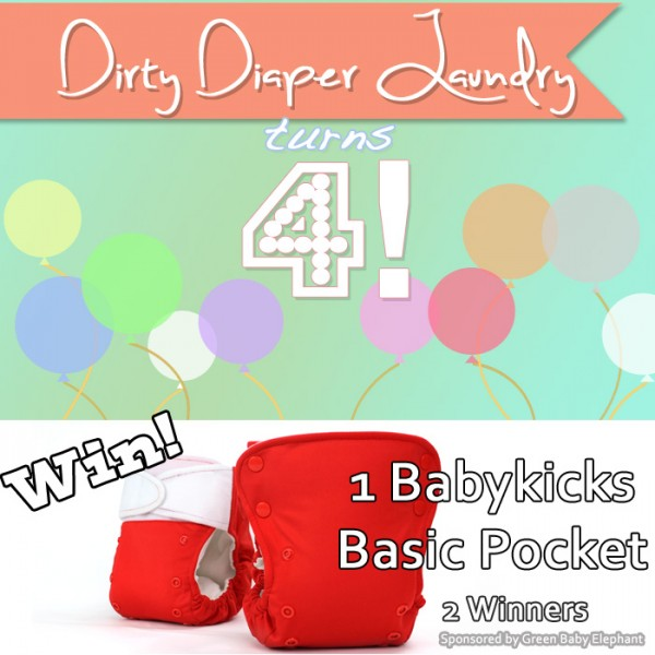 4 Years of DDL- BabyKicks Basic Pocket Giveaway sponsored by Green Baby Elephant {Ends 4/22}