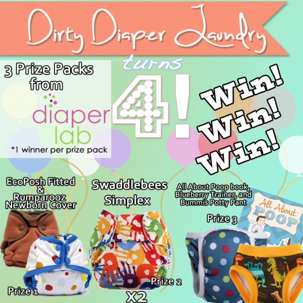 4 Years of DDL- Diaper Lab Giveaway Featuring 3 Prize packs including EcoPosh, Swaddlebees, Bummis, and more! Over $130 Worth!