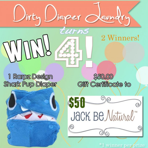 4 Years of DDL- Jack be Natural Giveaway- Rarpz Shark Diaper and a $50.00 Gift Certificate
