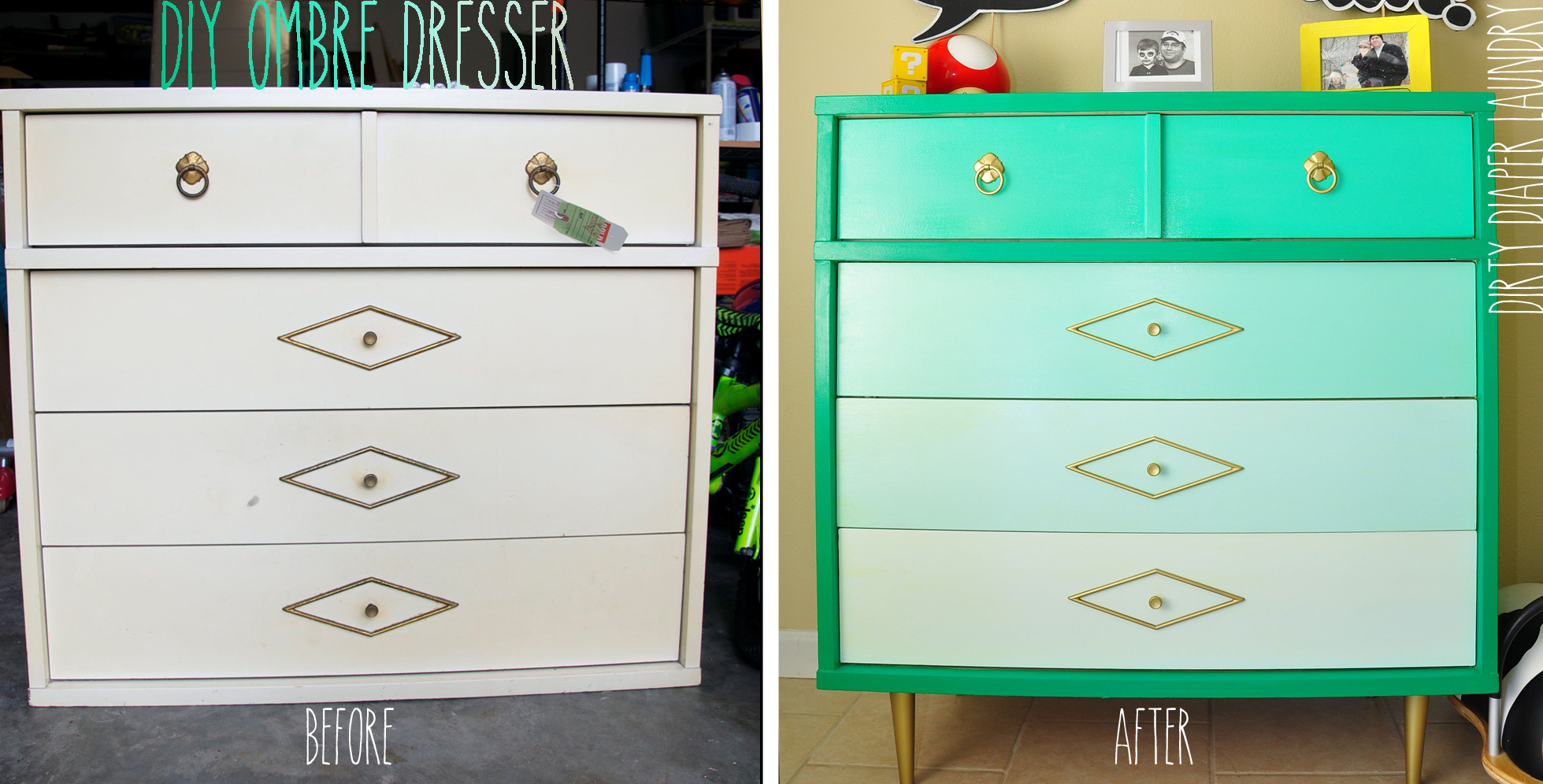 Ombré dresser before and after