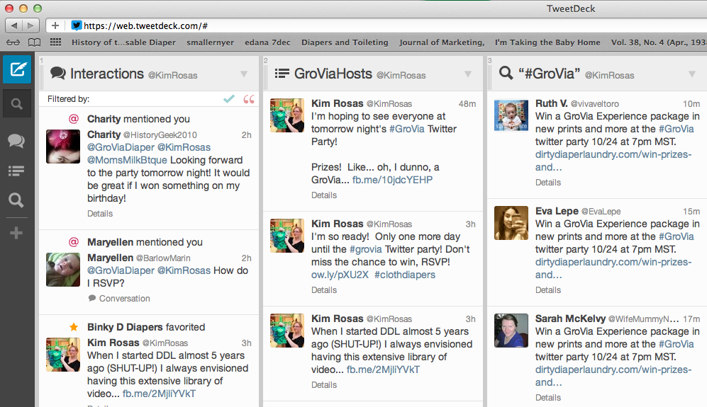 Your Tweetdeck.com should look like this for the party if you use it.