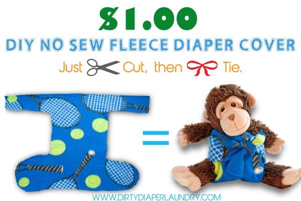 $1.00 DIY No-Sew Fleece Tie on Cloth Diaper Cover