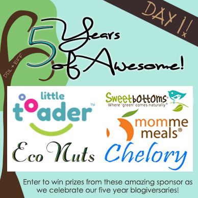 Day 1 Prize Package $150 Value Giveaway: 5 Years of Awesome Giveaways with DDL+EFF- Chelory, Eco Nuts, Mommee Meals, Sweetbottoms, and Little Toader
