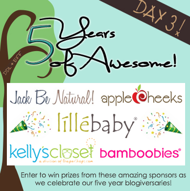 Day 3 Prize Package valued at $380: DDL+EFF 5 Years of Awesome- Prizes from líllébaby, Applecheeks, Bamboobies, Jack be Natural, and Kelly's Closet.  Bonus Prize Package!