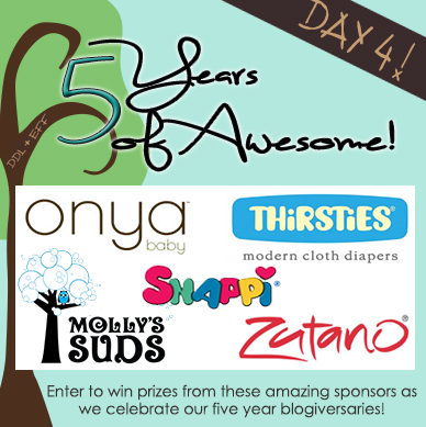 Day 4 Prize Package Giveaway $385: DDL+EFF 5 Years of Awesome- Prizes from Onya Baby, Molly's Suds, Zutano, Thirsties, and Snappi