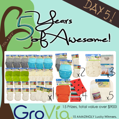 Day 5: 15 Prizes, 15 Winners, $900+ Value- DDL+EFF 5 Years of Awesome with Prizes from GroVia!