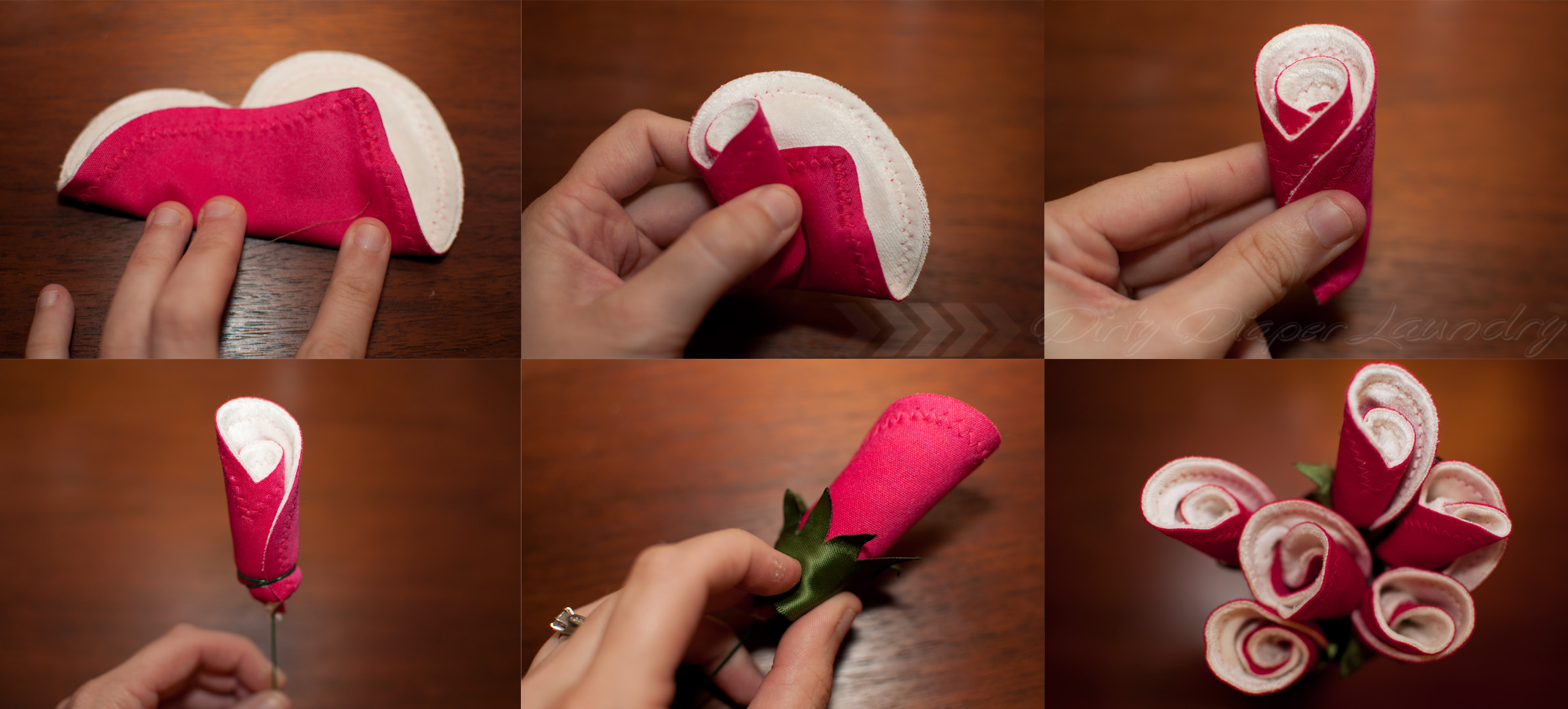 make a breast pad rose bud bouquet