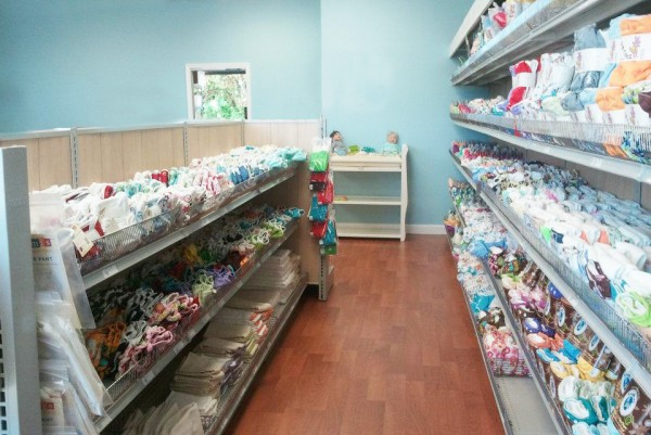 Shelves of cloth diapers at Diaper Junction