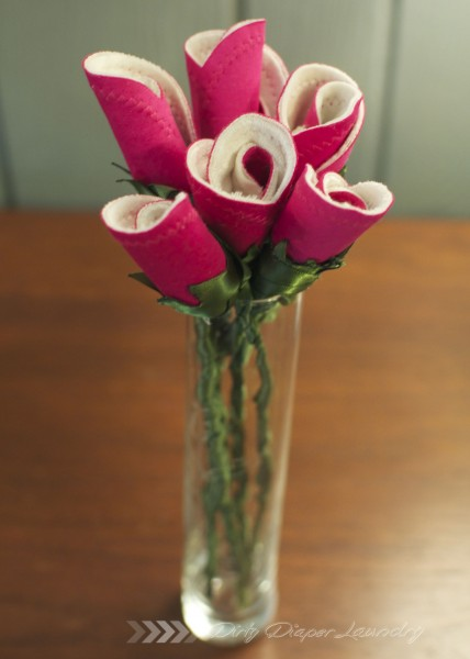 Breast pad roses in a clear vase- baby shower gift idea