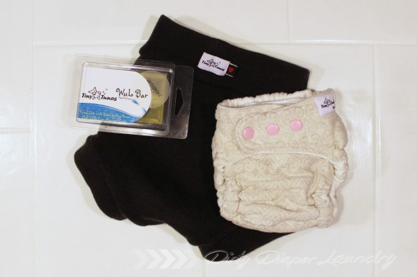 Tiny Tunas Diaper, Wool Cover, and WUL bar