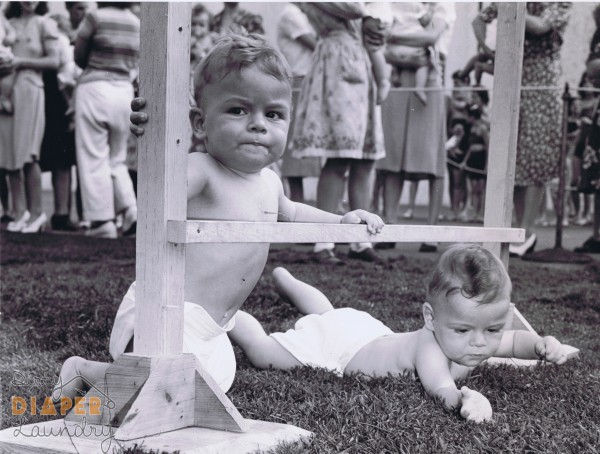 Twin boys in Diaper Derby, NJ, 1944