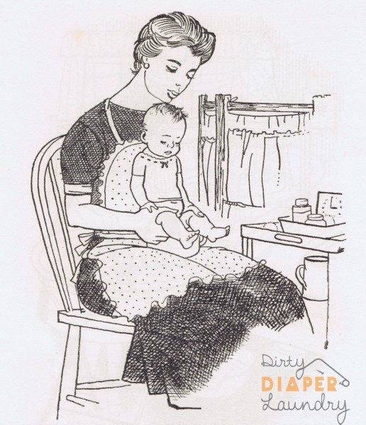 Illustration from parenting manual in 1956 to show infant toilet training techniques