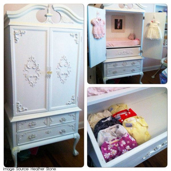Refinished Armoire for cloth diaper storage