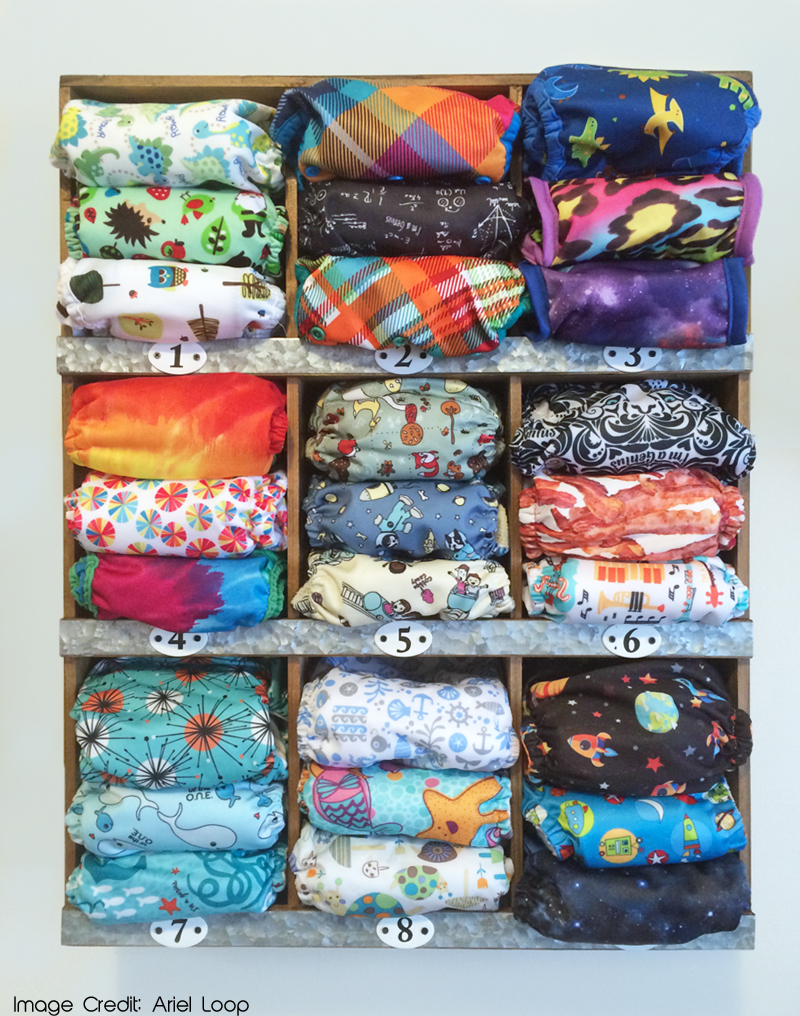 Numbered rustic storage for cloth diapers from Target