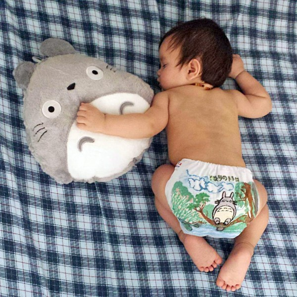 Totoro scene painted onto cloth diaper