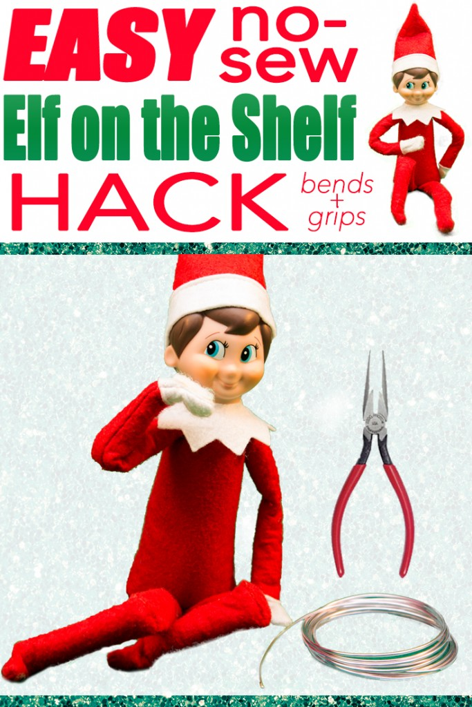 The easiest way to hack your elf on the shelf- makes him bendy for posing!  Must do this for Christmas!