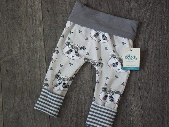Grow with me leggings great for babywearing and cloth diapers from Pure Colour Baby on Etsy