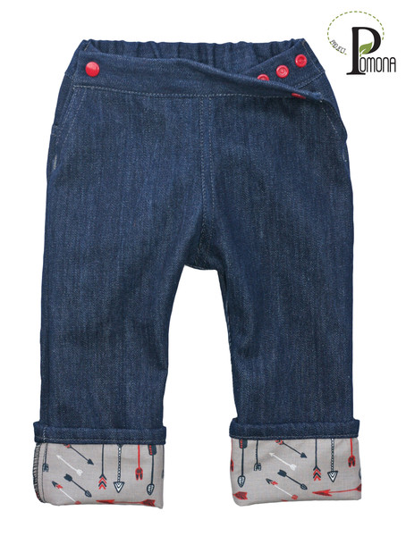 Project Pomona Pants are custom designed for cloth diapered babies