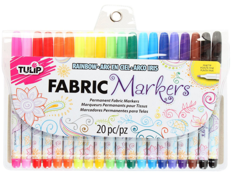 Most of the doodlers used these Tulip Fabric Markers, available on Amazon or Tulip Brand soft paints for fabrics