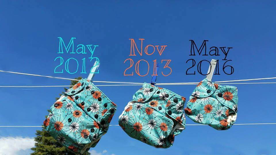Cloth Diapers on a line for pregnancy announcement