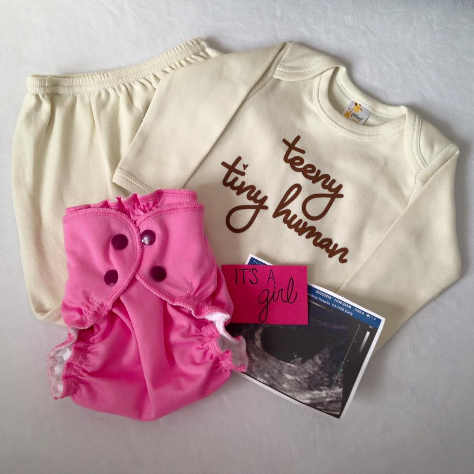 Gender Reveal for baby girl with cloth diaper