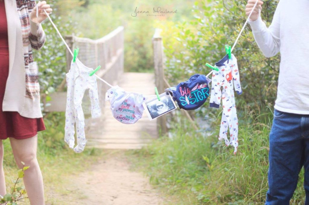 Diapers on a Line pregnancy announcement