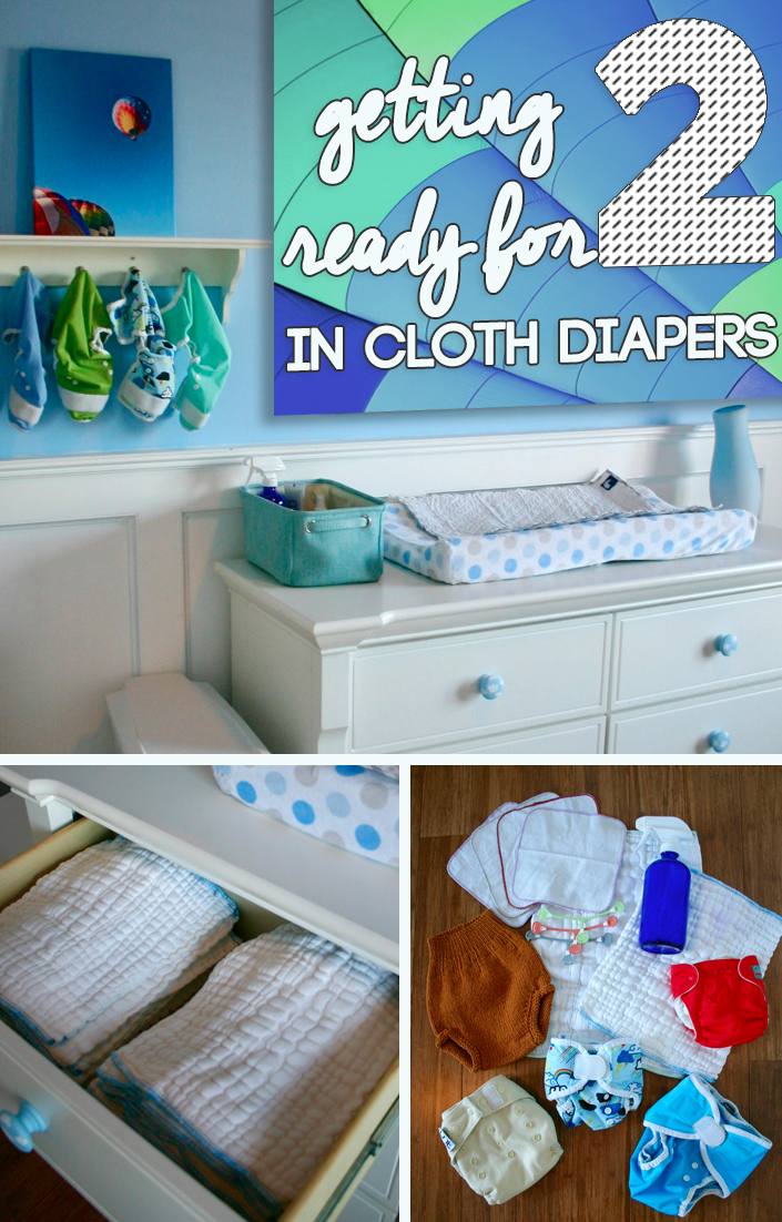 Getting prepared for having two babies in cloth diapers- a helpful guide for expecting parents! Having multiple changing stations- smart!