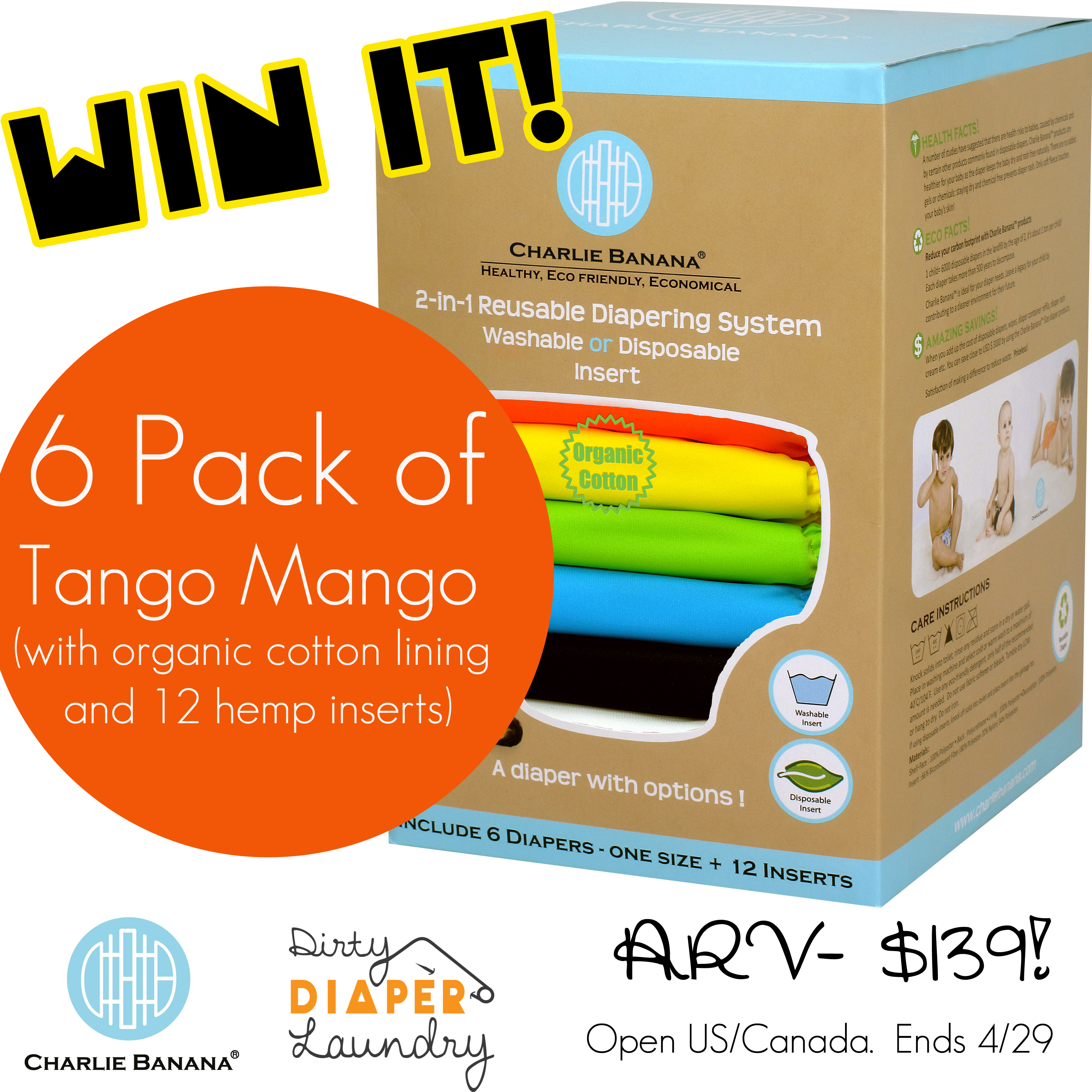 Win a 6 pack of Charlie Banana cloth diapers from Dirty Diaper Laundry