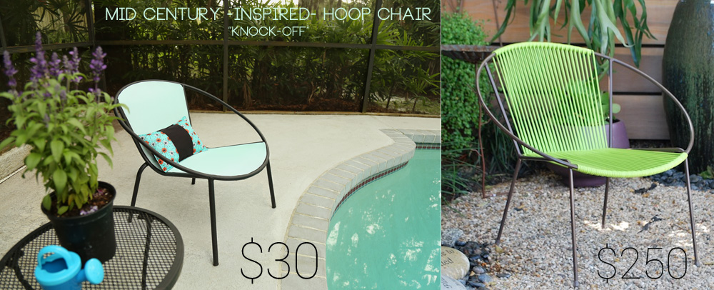 New DIY Mid Century Modern Hoop Chair Knock Off